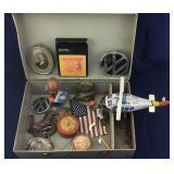 Vintage Tin Helicopter, VW Badge, Yo-Yo, Etc.