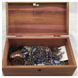 Lane miniature cedar box with costume jewelry