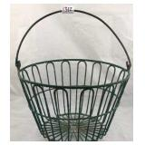 Antique wire metal egg clam gathering basket