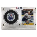 Signed Ryan Smith Edmonton Oilers puck and card