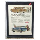 Framed Original 1958 Chevy Wagon Car Ad