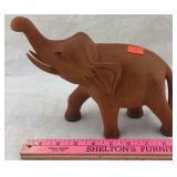 Varnished Carved Wooden Elephant
