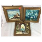 Three Small Hand Painted Italian Paintings