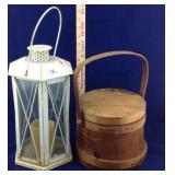 Small Firkin bucket and candle lantern
