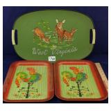 Three 1970s party trays