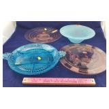 2 Pink Footed Glass Cake Plates and More