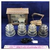 4 Clear Glass Insulators and More