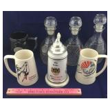 Glass Decanters, Beer Stein, Vintage Mugs