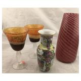 Art Glass Wine Glasses and Pink Swirl Vase,