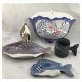 Pottery Fish Trays and Mug, Huge Fish Wall
