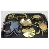 Brass Crabs, Sand Dollar, Horseshoe Crab and