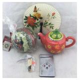 Christmas Treasure Globe, Teapot, Fan, & More