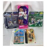 4 Sports Collectible Toys and a Barbie Doll