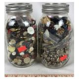 2 Mason Jars full of Buttons