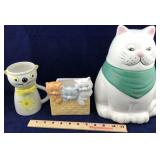 Cat Cookie Jar and 2 Other Porcelain Cat Items