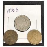 1936 S Buffalo Nickel & 1883 Cent & 1920 S Cent