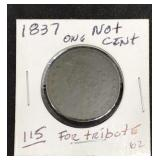 1837 Not One Cent - Copy Coin