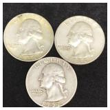 3 Silver Washington Quarters
