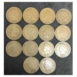 14 Indian Head Cents - Various Dates