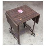 Rolling vintage typewriter drop leaf table