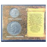 Susan B Anthony and Eisenhower Dollar in Case