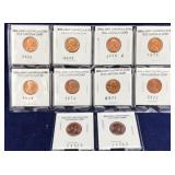 10 Old Brilliant Uncirculated Lincoln Cents