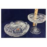 Brilliant cut crystal bowl and compote