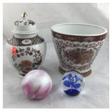 Oriental Porcelains and 2 Art Glass Paperweights