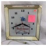 Large Vintage Lighted Budweiser Clock