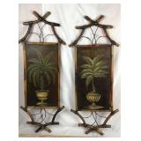 Pair of Handpainted Bamboo Wall Hangings