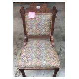 Antique walnut upholstered side chair