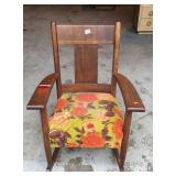 Antique mission oak upholstered rocker