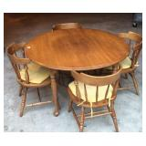 Vintage solid rock maple dining table and chairs