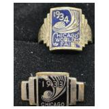 1934 Chicago World's Fair Ring and 1933 Pin
