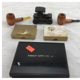 Vintage Small Pipes, Tiny Metal Car, Boxed Cards,