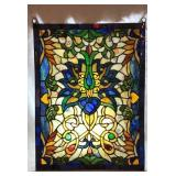 Rectangular Leaded Stained Glass Window Hanging