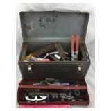 Vintage Metal Craftsman Tool Box with Tools