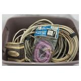 Bin of Cables/Wires & Electrical Items