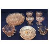15 Pieces of Pink Depression Glass