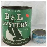 B&L Brand Oyster Cans (Bivalve/Madison)