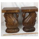 Pair of Carved Solid Wood Swan Pedestals
