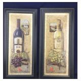 2 Large Framed Wine Bottle and Grapes Pictures