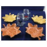 4 Leaf Pillar Candle Holders and 2 Glass Mugs