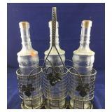 Black Metal 3 Bottle Wine Bottle Holder