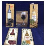 5 Small Wine Related Plaques