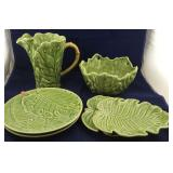 6 Large Serving Pieces of Lime Green Leaf