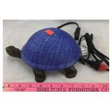 Turtle Tabletop Lamp with Blue Glass Shell