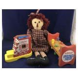 2 Wooden Playskool Toys and a Raggedy Ann Doll