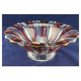 Large Red and Clear Glass Bowl