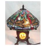 Bronze Tiffany style stained-glass lamp